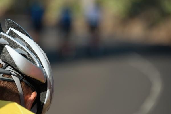 Detail cyclist helmet